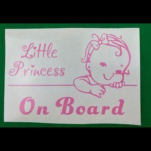 Little Princess On Board Pink Vinyl Decal Sticker